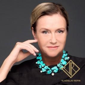 Ирина Розанова. Колье из бирюзы, жемчуга и амитринов