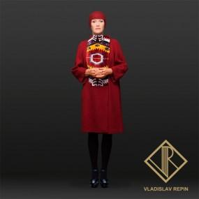 Ирина Розанова. Пальто из шерстяного джерси, с отделкой из шелкового бархата «бахмаль» ручной работы